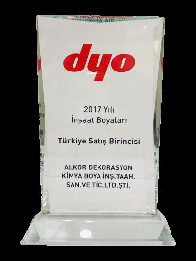 DYO 2017 Yılı İnşaat Boyaları Türkiye Satış Birinciliği Plaketi