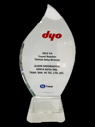 DYO 2016 Yılı İnşaat Boyaları Türkiye Satış Birinciliği Plaketi